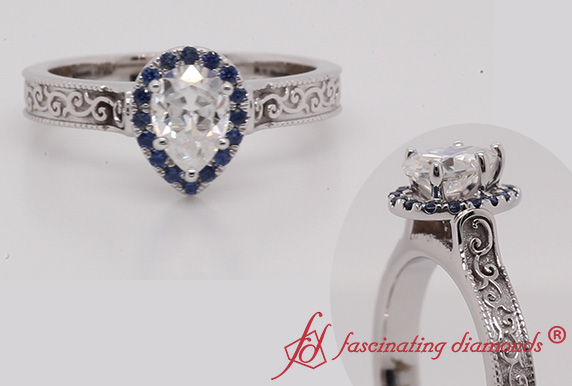 Engraved Pear Moissanite Halo Ring