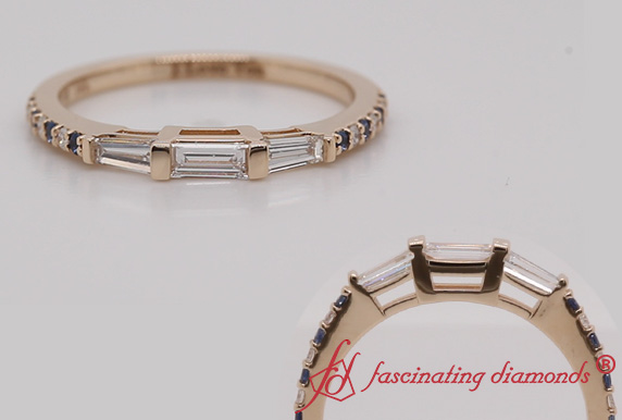 Gold Baguette And Diamond Band