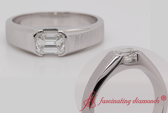 Emerald Cut Solitaire Men Ring