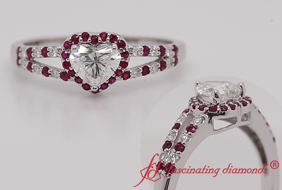 Heart Diamond Split Ring With Ruby
