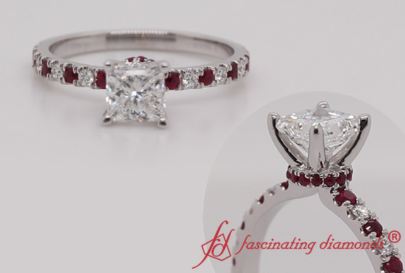 Hidden Halo Diamond Ring With Ruby