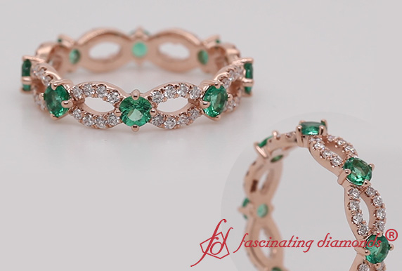 Infinity Vintage Eternity Band With Emerald