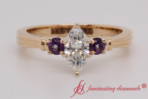 3 Stone Ring With Purple Topaz