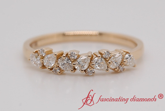 Pear & Round Cut Anniversary Band