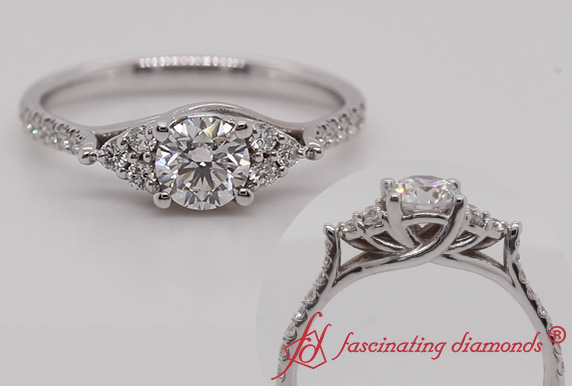 Round Diamond Cathedral Ring