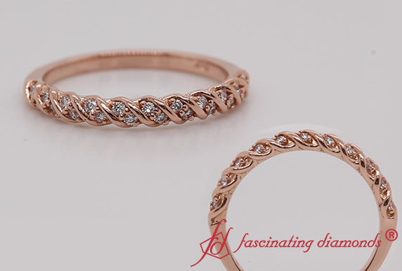 Rope Design Pave Diamond Band