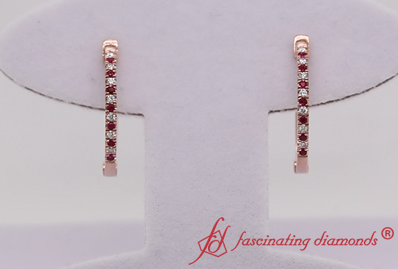 Diamond Hoop Earring With Ruby