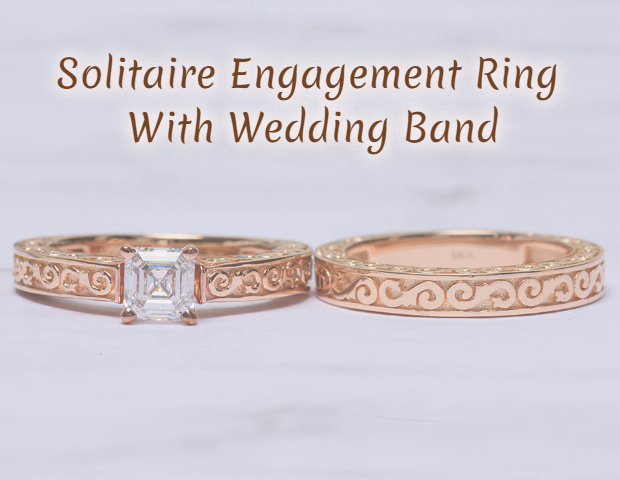 Solitaire Engagement Ring With Wedding Band(merienda font)