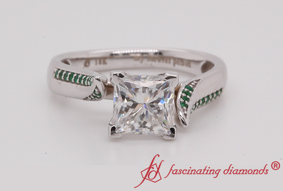 Swirl Princess Cut Moissanite Ring