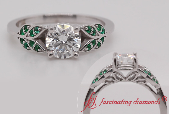 Leaf Design Engagement Ring