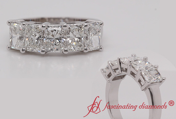 Radiant Cut 5 Stone Diamond Band