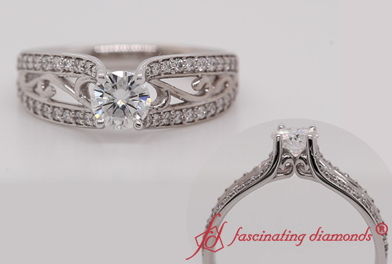 Cathedral Filigree Moissanite Ring