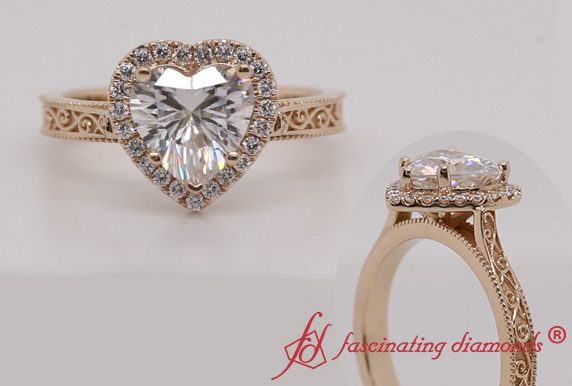 Halo Heart Moissanite Ring