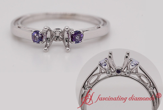 Semi Mount Accent Purple Topaz Ring