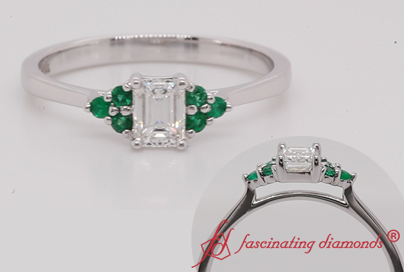 Cathedral Engagement Ring With Emerald