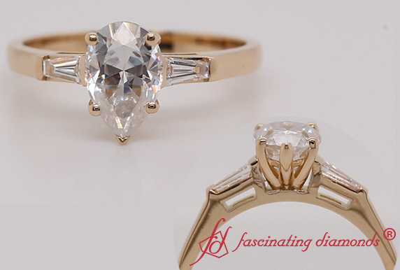 3 Stone Moissanite Engagement Ring