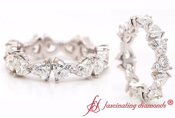 4 Carat Heart Diamond Eternity Band
