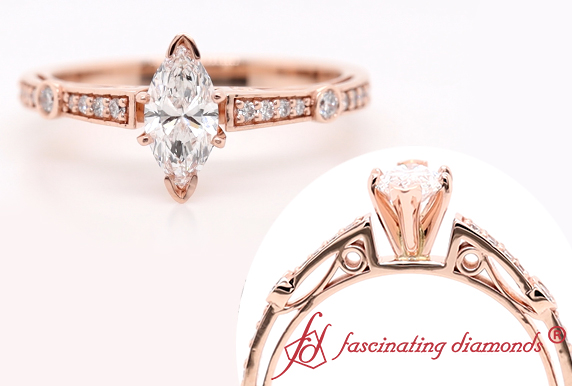 Marquise Diamond Tapered Vintage Ring