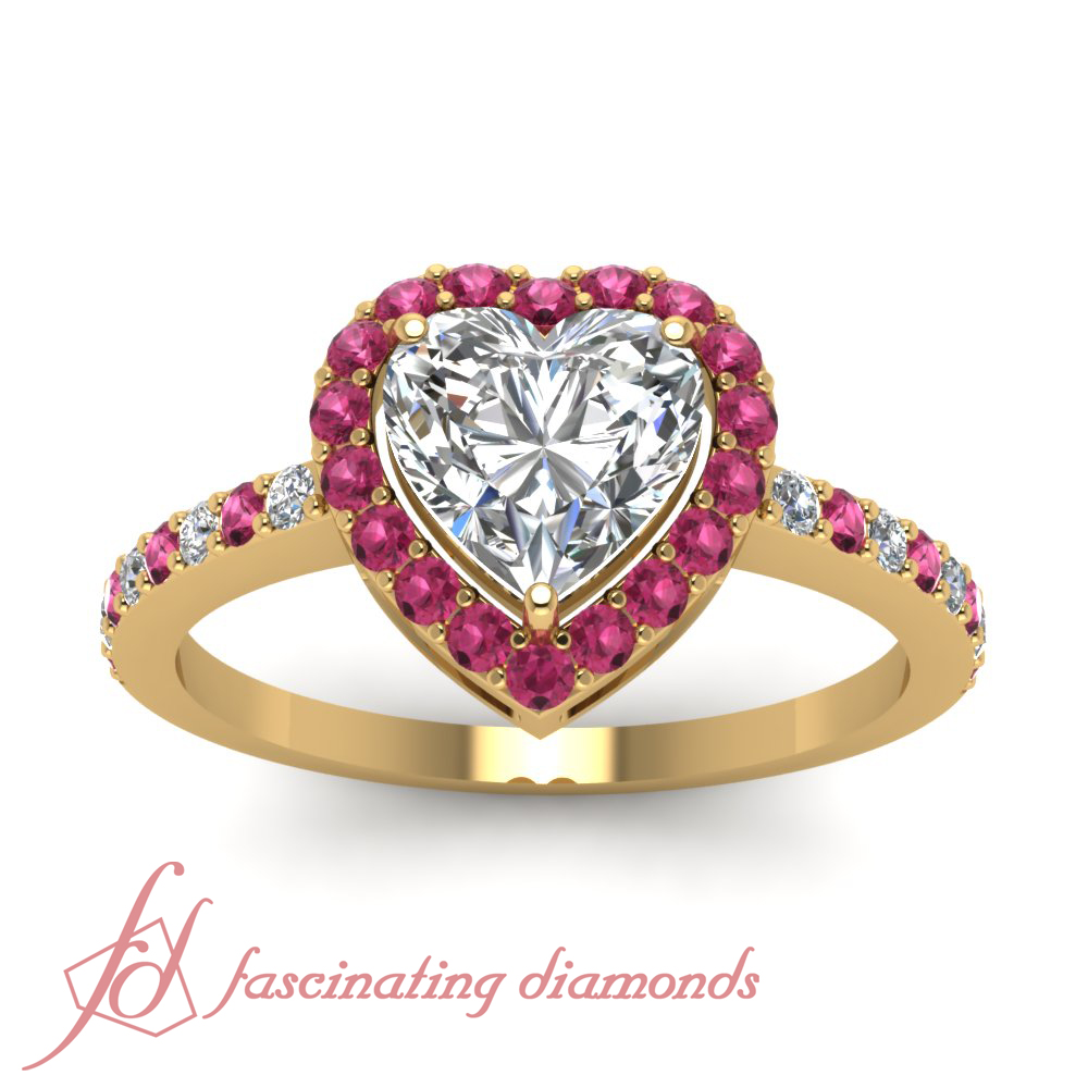 Halo Style Pave Set 0 85 Ct Heart Shaped Diamond Pink Sapphire Engagement Rin