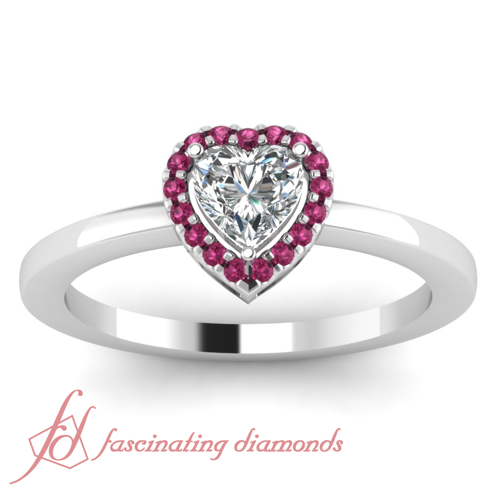 60 CT Heart Shaped Diamond Engagement Ring Pave SET With Round Pink Sapphire