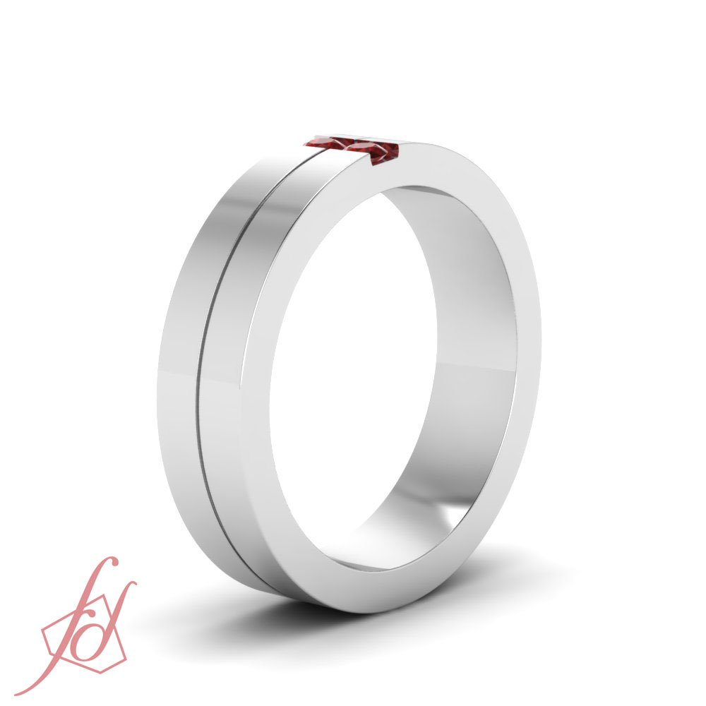 10 Ct Comfort Fit Mens Wedding Ring Sold By Fascinating Diamonds With Red Ru