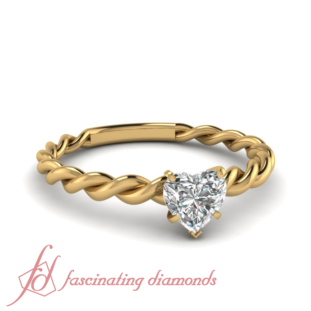 1 4 Carat Heart Shaped Diamond Solitaire Twisted Band Engagement Ring 14K Gol