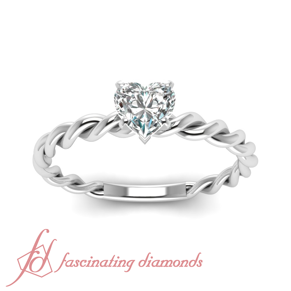 Solitaire Twist Engagement Ring 1 2 Carat Heart Shaped Very Good CUT Diamond