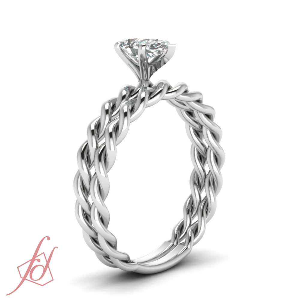 twisted band solitaire bridal rings set ct pear. Black Bedroom Furniture Sets. Home Design Ideas