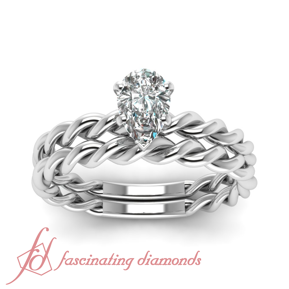 Colored Diamond Wedding Ring Sets: Twisted Band Solitaire Bridal Rings Set 0.60 Ct Pear