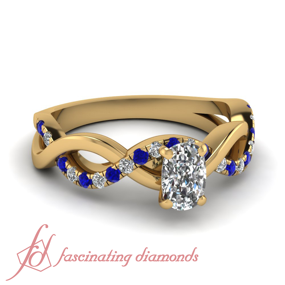 1 Carat Cushion Cut With Blue Sapphire Diamond Engagement Ring 14K Yellow Gol