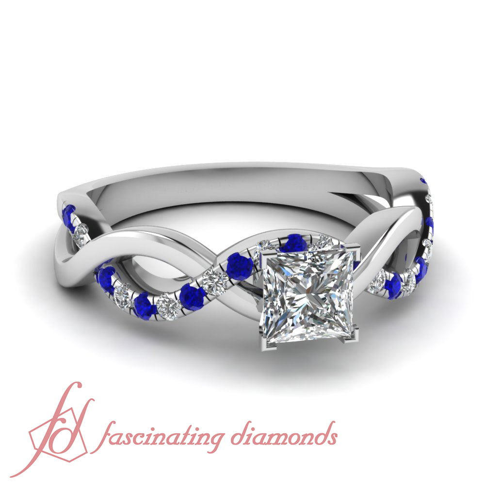 Pave SET 0 80 CT Princess CUT VS2 Diamond Blue Sapphire Women Engagement Rings