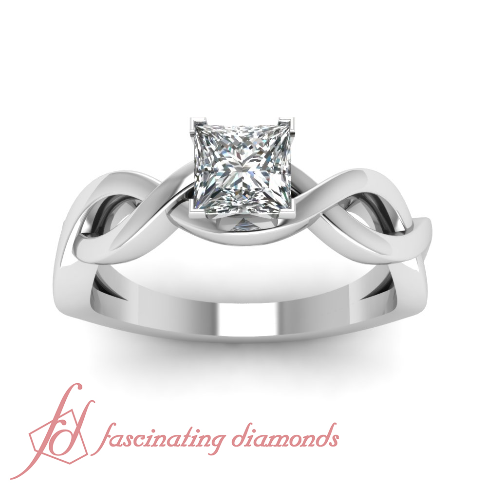 1 2 Carat Princess CUT Diamond Solitaire Intertwined Engagement Rings FOR Wom