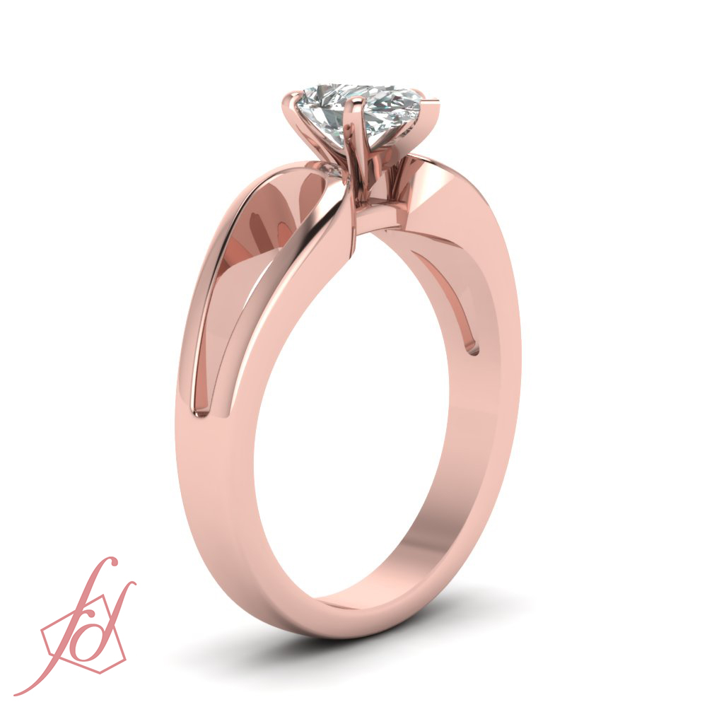 1/2 Ct Pear Shaped SI2-E Color Diamond Solitaire Engagement Ring GIA ...