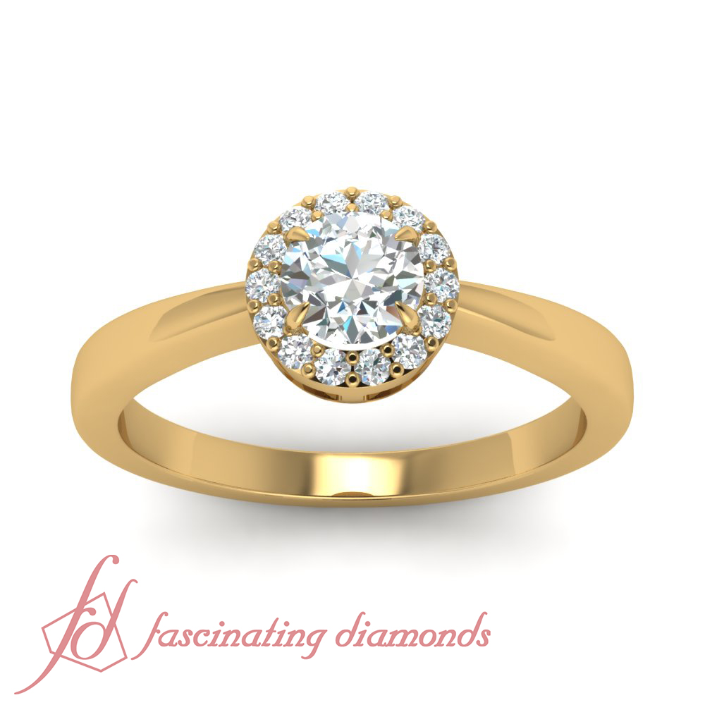 35-Ct-Round-Cut-Diamond-Halo-Tapered-Style-Engagement-Ring-Pave-Set-14K-Gold