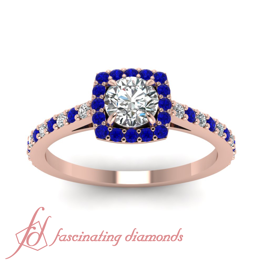 1 2 Carat Round Cut Diamond & Blue Sapphire Halo Design Engagement Ring 1