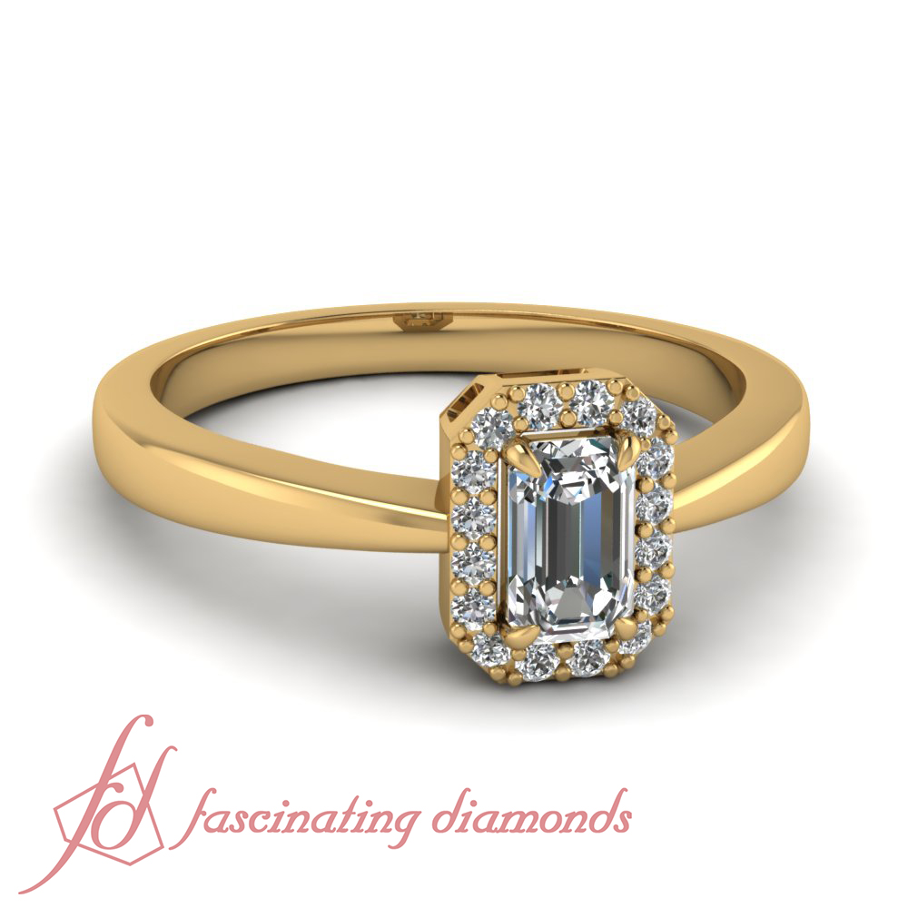 35 Ct Emerald Cut Diamond Halo Style Engagement Ring Pave Set Solid 14K Gold