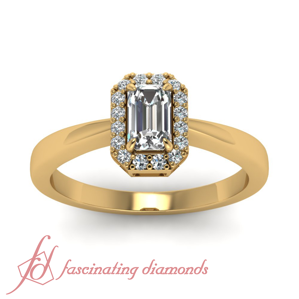 35 ct emerald cut diamond halo style engagement ring pave. Black Bedroom Furniture Sets. Home Design Ideas