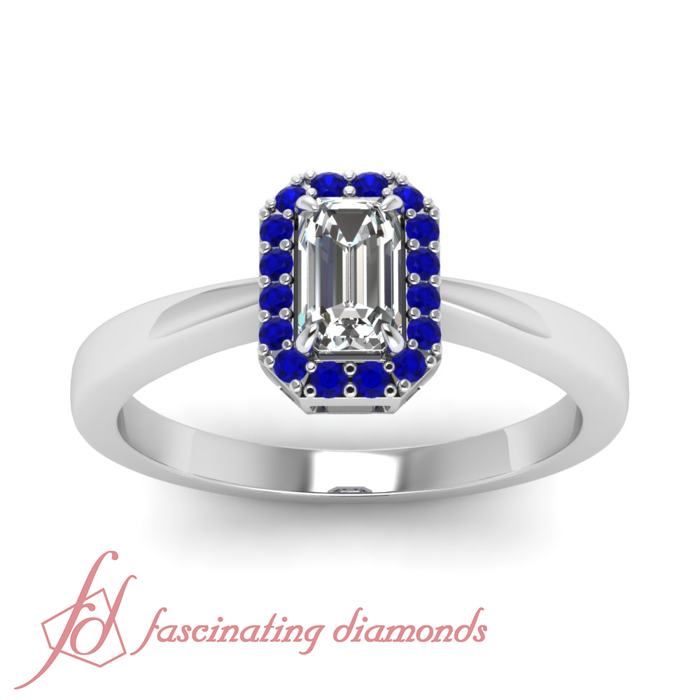 Pave Set Halo Engagement Ring 0 45 Ct Emerald Cut Diamond & Round Blue Sa