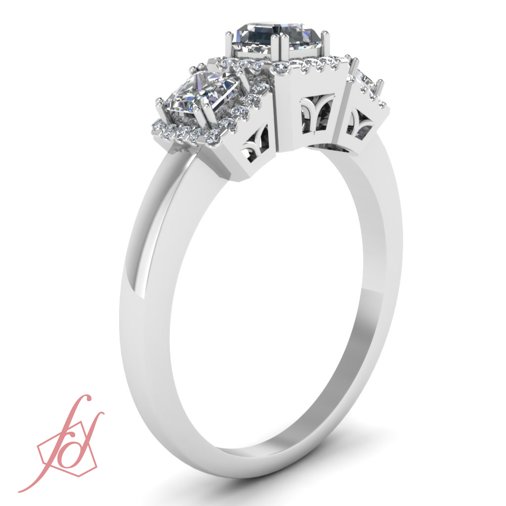 Sparkling Pave Engagement Ring 1 Ct Asscher Ideal Cut Halo Diamond VS2 GIA