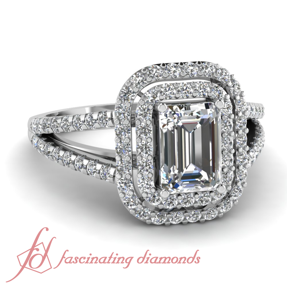 1 70 Ct Emerald Cut Double Halo Engagement Ring Diamond GIA Pave Set 14K Gold