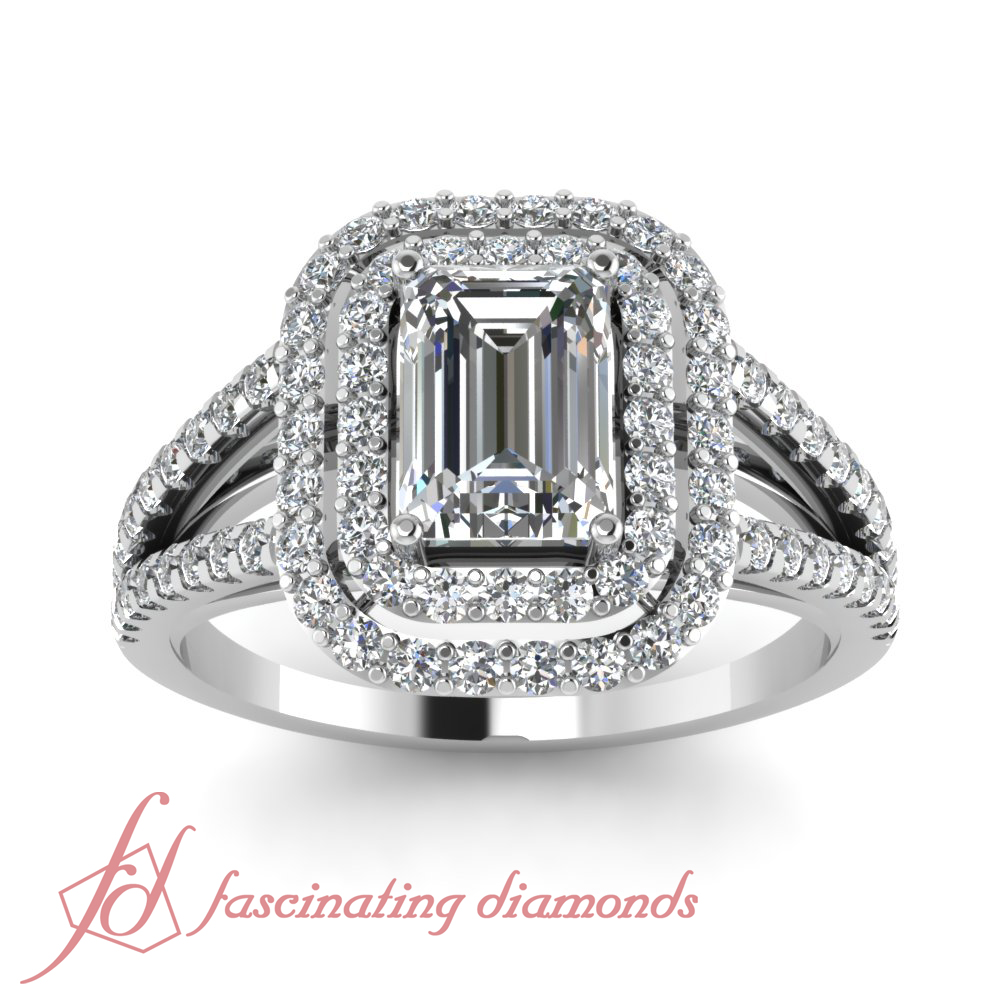 170 ct emerald cut double halo engagement ring diamond for 1 ct wedding ring