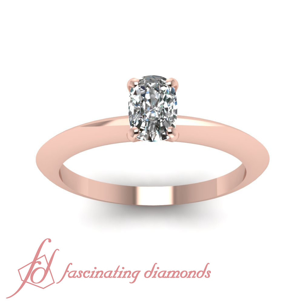 1 2 Ct Rose Gold Cushion Cut Diamond Knife Edge Solitaire Engagement Ring GIA