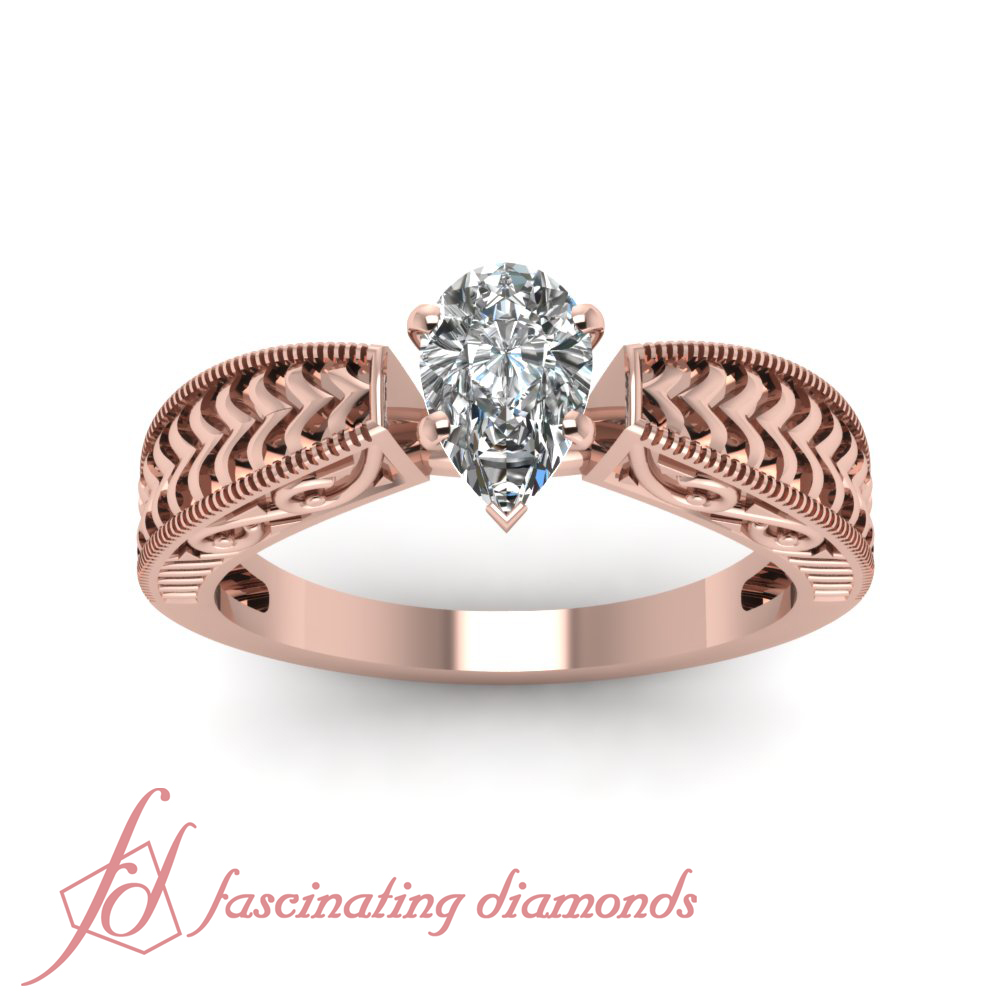 1 2 Carat Pear Shaped Diamond Carved V Solitaire Engagement Ring 14K Rose Gol
