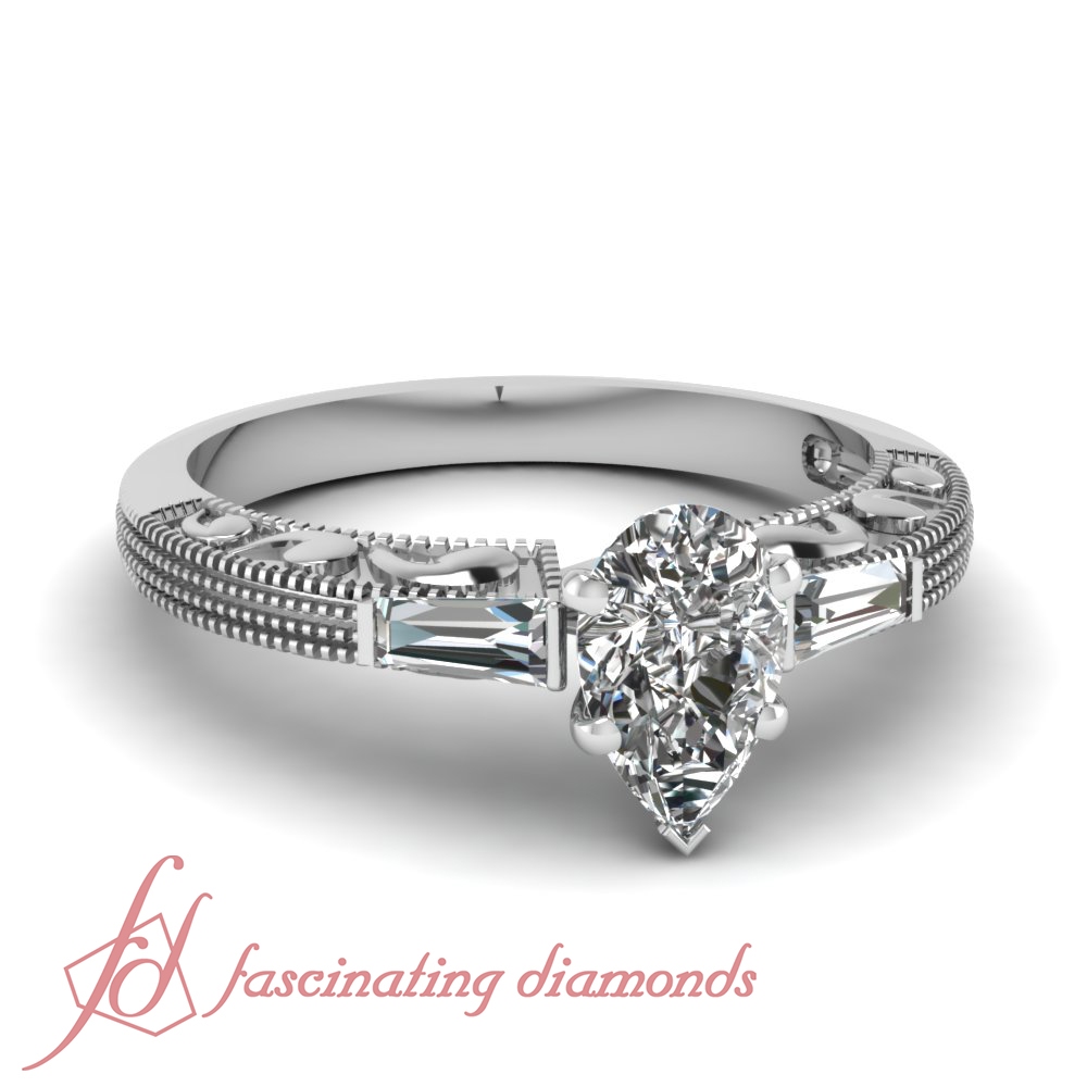 Pear Shaped Diamond Engagement Ring W Tapered Baguette Side Diamonds In Bar  Setting (66 Ctw) Si2