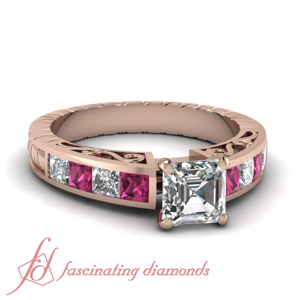 Colored Diamond Wedding Ring Sets: Pink Sapphire Engagement Channel Set Ring 1.65 Ct Asscher