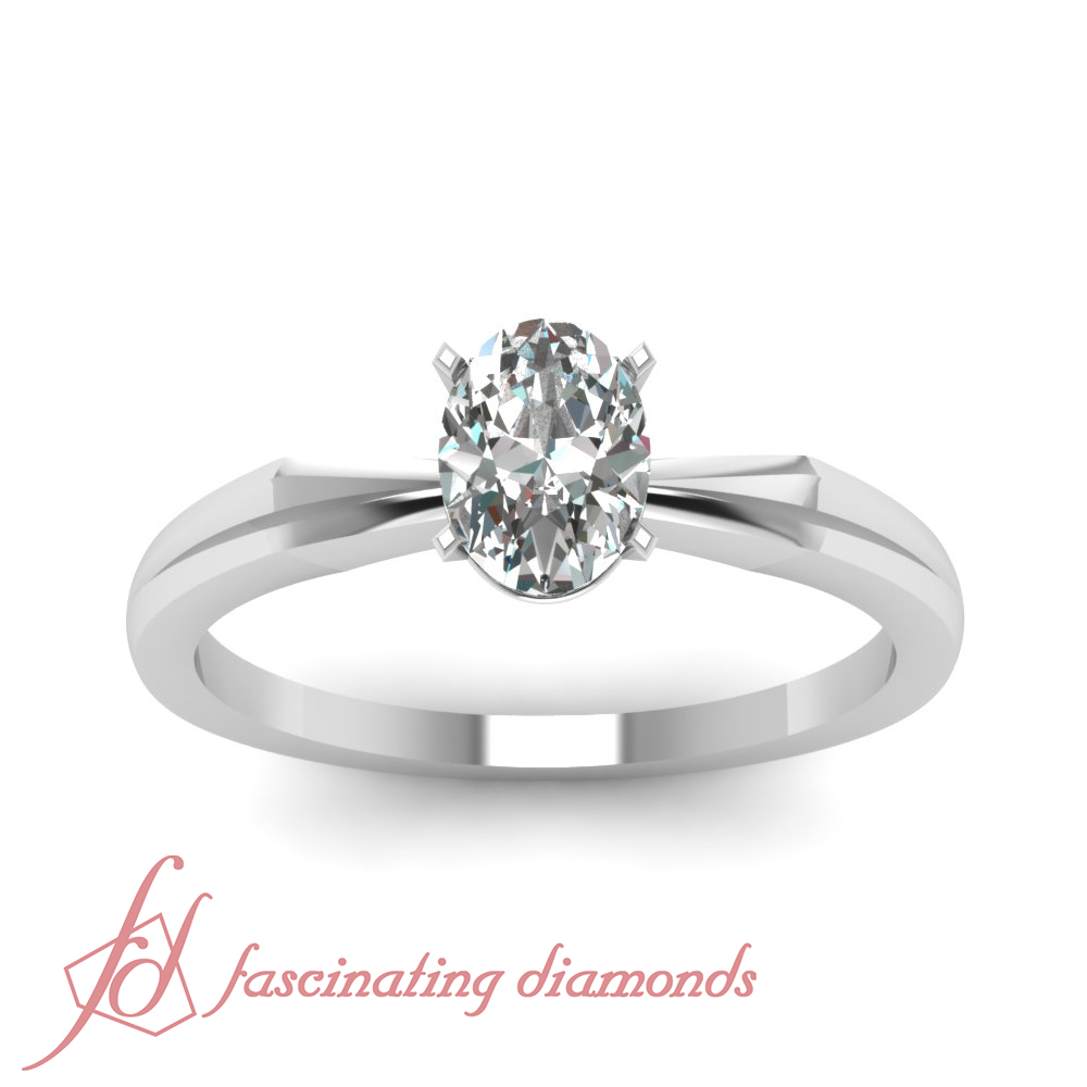 1 2 Carat Oval Shape Diamond V Edged Solitaire Engagement Ring SI2 GIA Certified