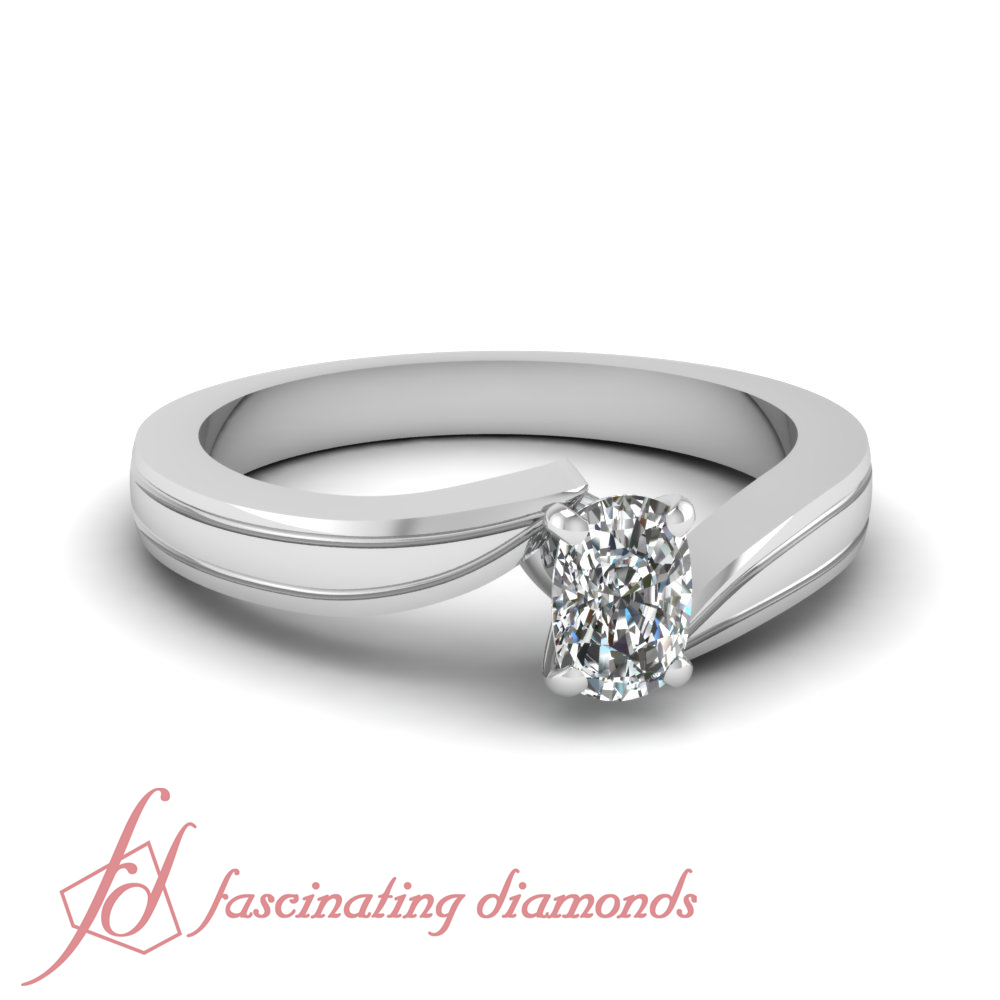1 2 carat cushion cut diamond swirl tapered solitaire