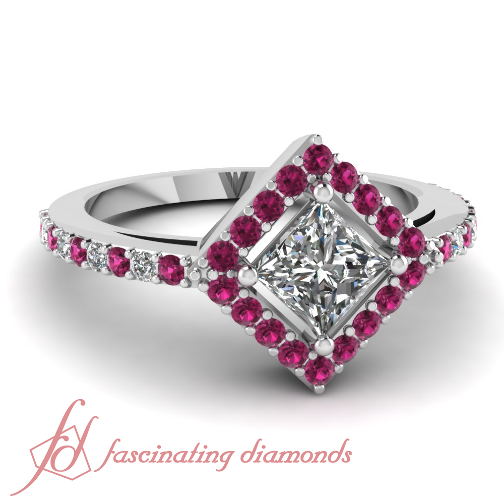 85 ct princess cut diamond pink sapphire halo for Princess cut pink diamond wedding rings