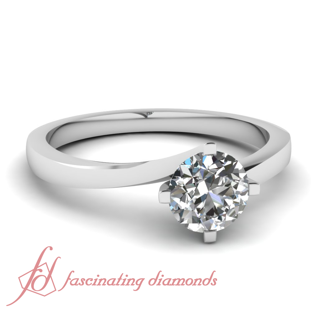 1/2 Carat Round Cut Diamond Swirl Solitaire Womens Gold ...