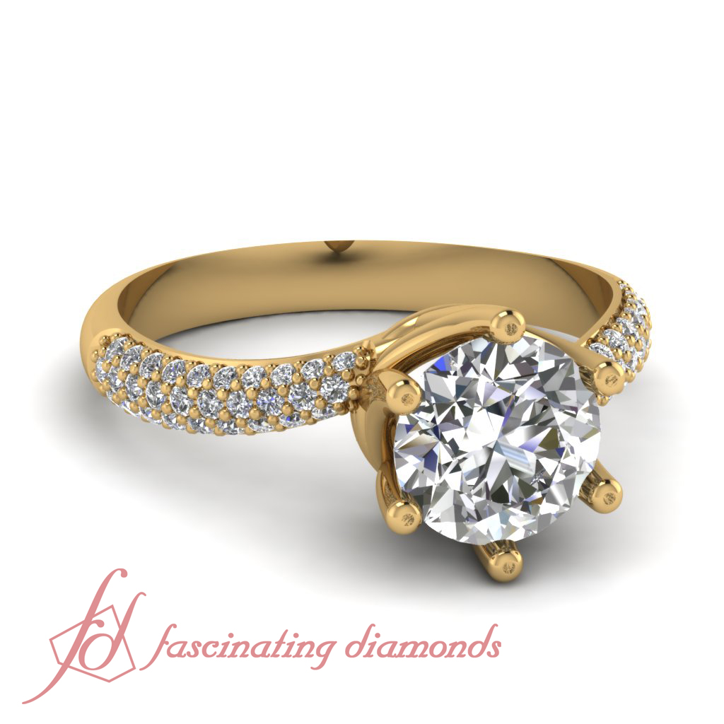 Details About Round Cut Swirl Head Pave Set Diamond Engagement Ring In Yellow Gold Gia 070 Ct: Swirl Diamond Wedding Rings At Websimilar.org